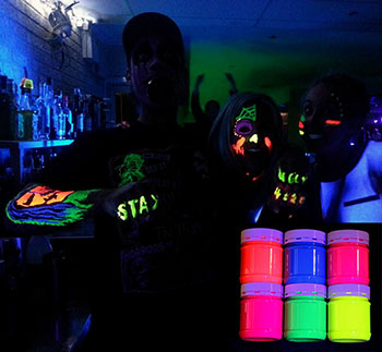 UV Face and Body Paint used at night club